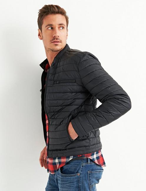 QUILTED RACER JACKET, #001 BLACK
