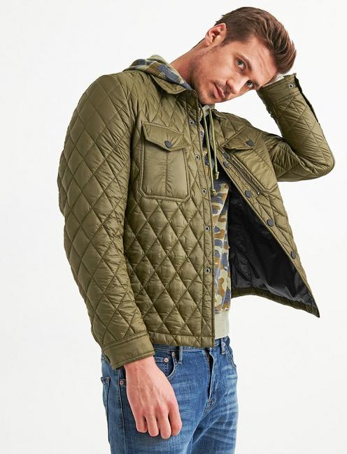 DIAMOND QUILTED SHIRT JACKET, 378 OLIVE