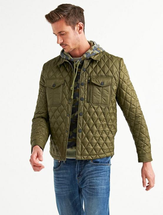 DIAMOND QUILTED SHIRT JACKET, 378 OLIVE, productTileDesktop