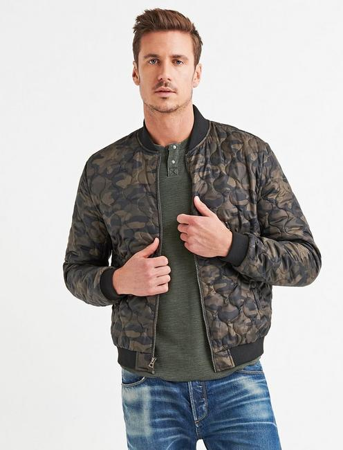 CAMO QUILTED BOMBER,