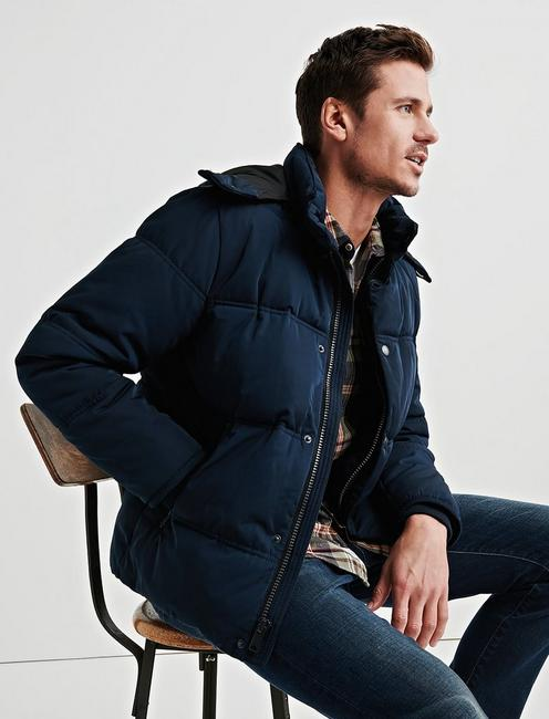 HOODED PUFFER JACKET, #437 NAVY
