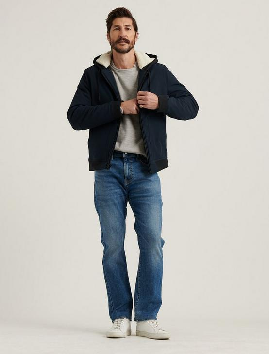 HOODED SHERPA JACKET, #437 NAVY, productTileDesktop