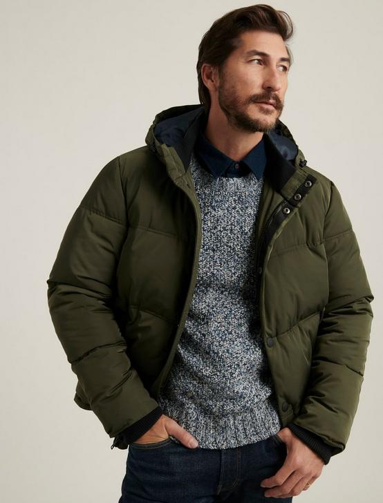 HOODED PUFFER JACKET, 378 OLIVE, productTileDesktop
