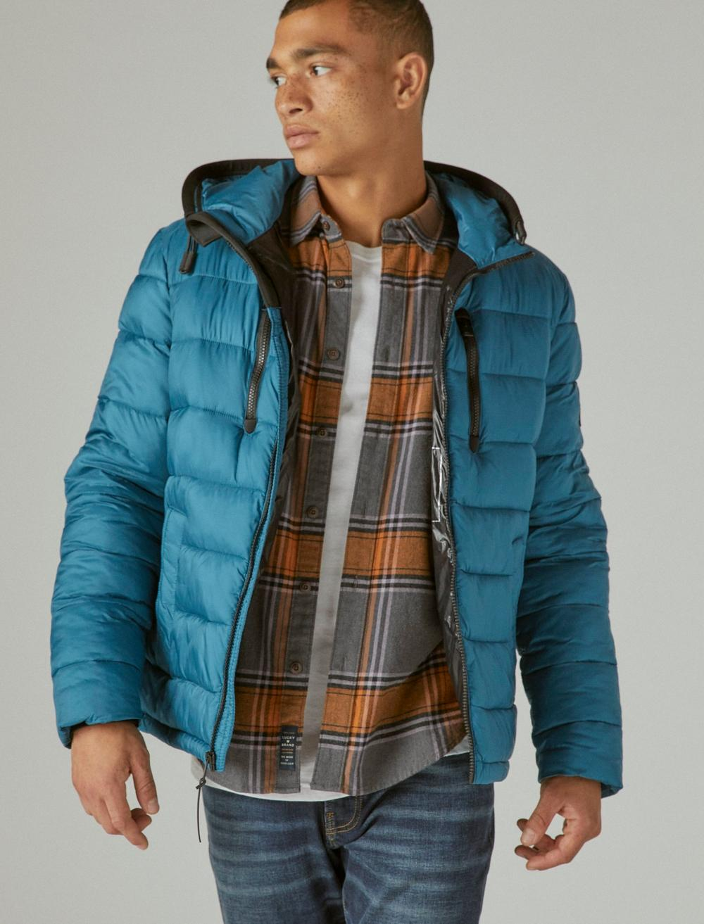 NYLON HOODED QUILTED PUFFER JACKET, image 1