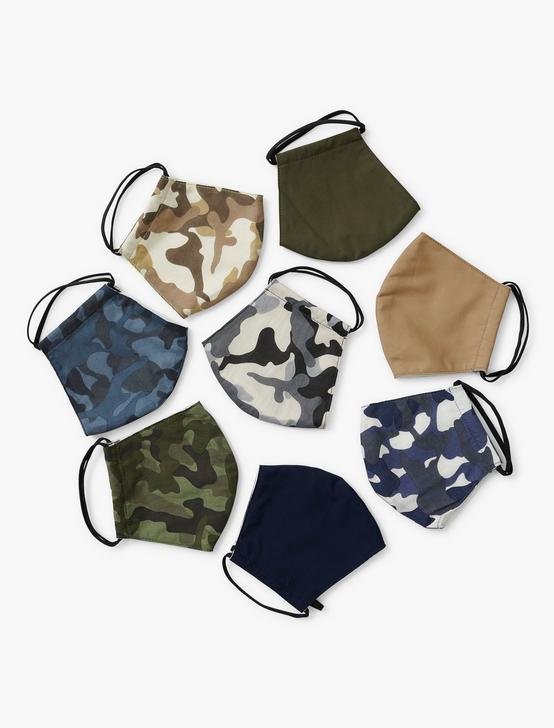 MULTU 8 PACK CAMO FACE MASK, MULTI, productTileDesktop