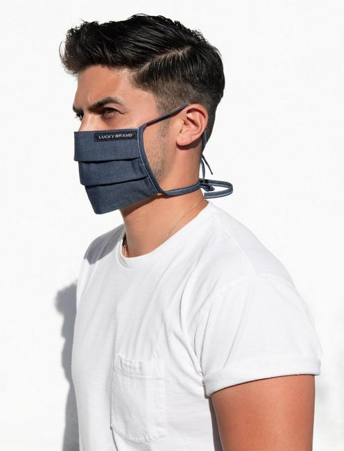 5 PACK PLEATED COTTON FACE MASK, CHAMBRAY BLUE