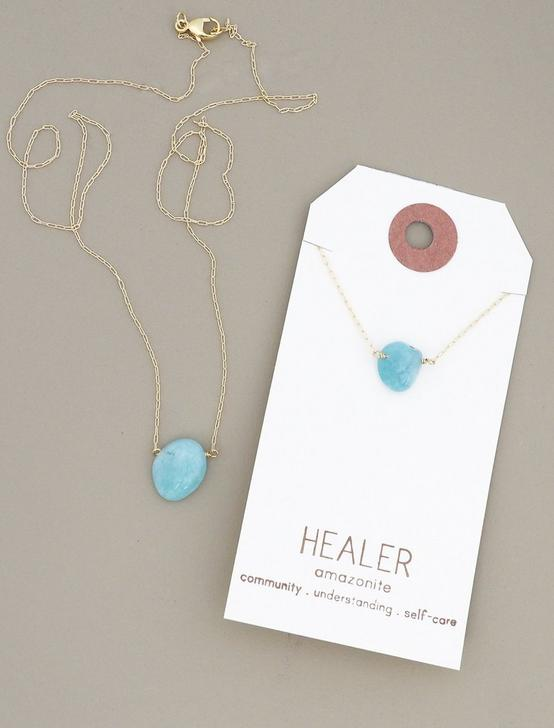 Britta Ambauen Healer Peruvian Amazonite Necklace, GOLD, productTileDesktop