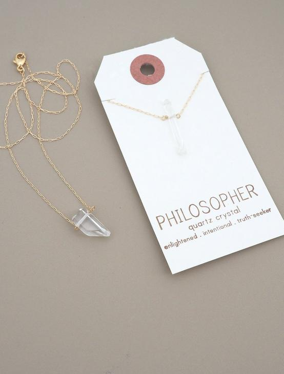 Britta Ambauen Philospher Quartz Crystal Necklace, GOLD, productTileDesktop
