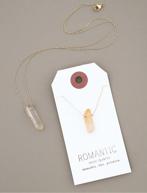 Britta Ambauen Romantic Rose Quartz Necklace, GOLD