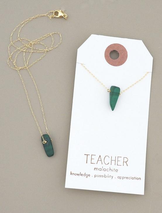 Britta Ambauen Teacher Malachite Necklace, GOLD, productTileDesktop