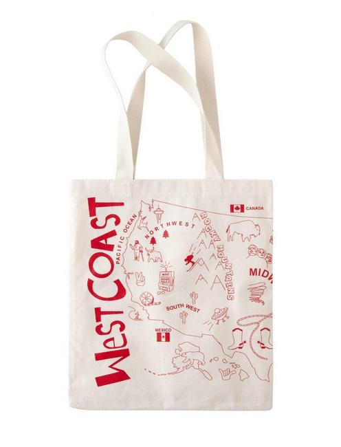 Maptote East Coast West Coast Tote, OPEN BROWN/RUST
