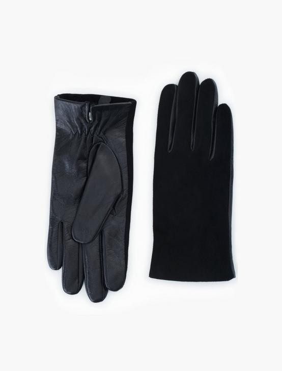 SUEDE LEATHER MIX GLOVES, BLACK, productTileDesktop