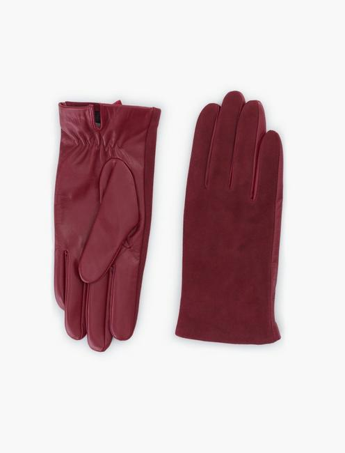 SUEDE LEATHER MIX GLOVES, BURGANDY