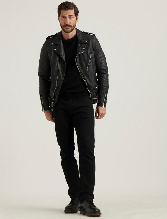 SCHOTT X LB BOWERY LEATHER JACKET, #001 BLACK, productTileDesktop