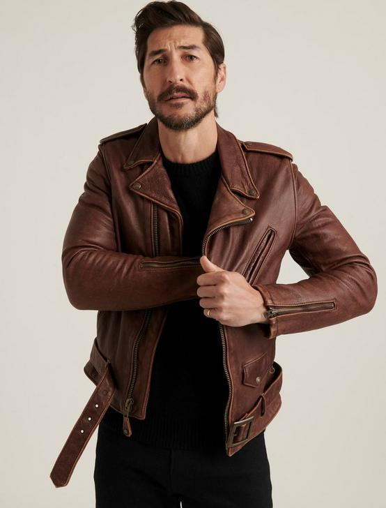 SCHOTT X LB BOWERY LEATHER JACKET, BROWN, productTileDesktop