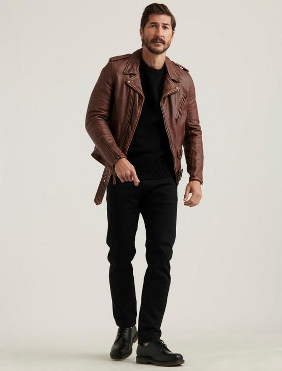 SCHOTT X LB BOWERY JACKET, BROWN, productTileDesktop