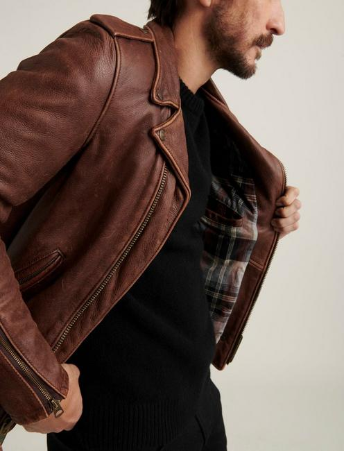 SCHOTT X LB BOWERY LEATHER JACKET, BROWN