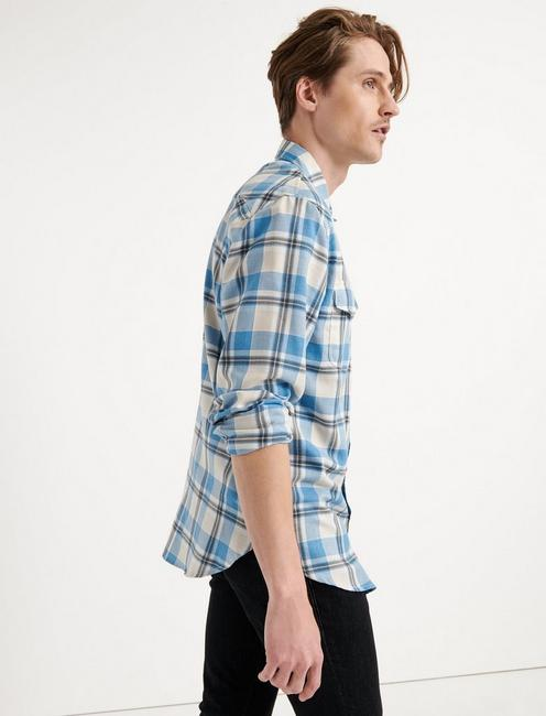 LONG SLEEVE WESTERN, BLUE MULTI