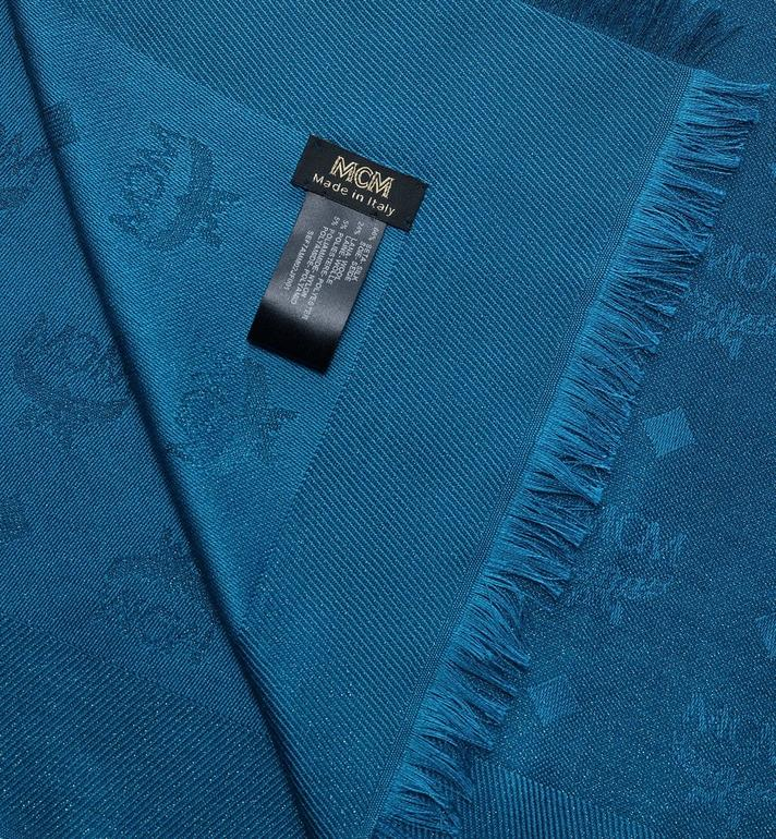 MCM 花押字圖案提花金屬條紋圍巾 Blue MEF7AMM02JF001 Alternate View 2