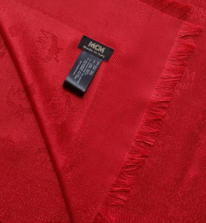 MCM Écharpe jacquard monogramme Lurex Red MEF7AMM02R4001 Alternate View 2