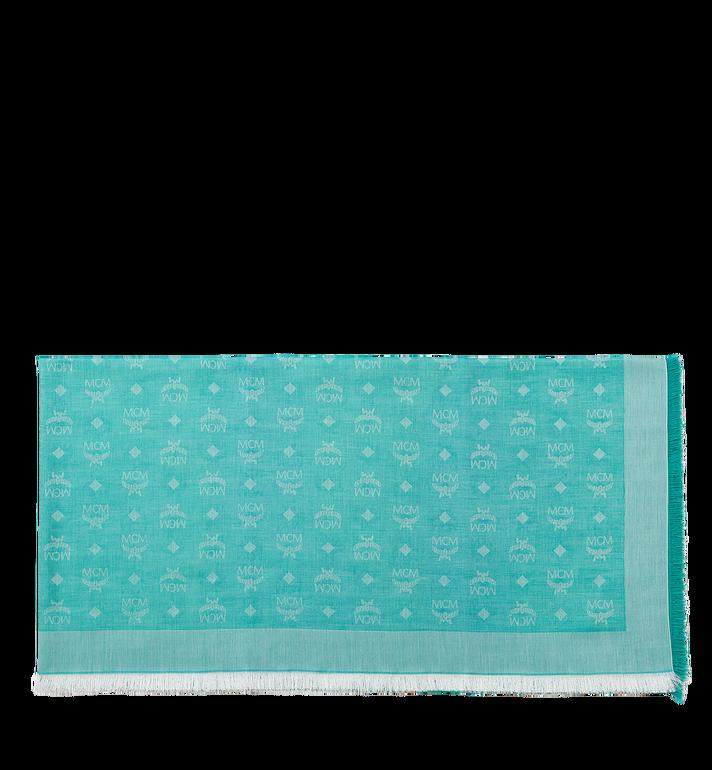 MCM Leichter quadratischer Baumwollschal aus Seide und Wolle Green MEF8SMM03GR001 Alternate View 2