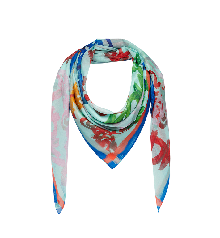 MCM Allover Logo Print Scarf in Modal Silk Alternate View 1