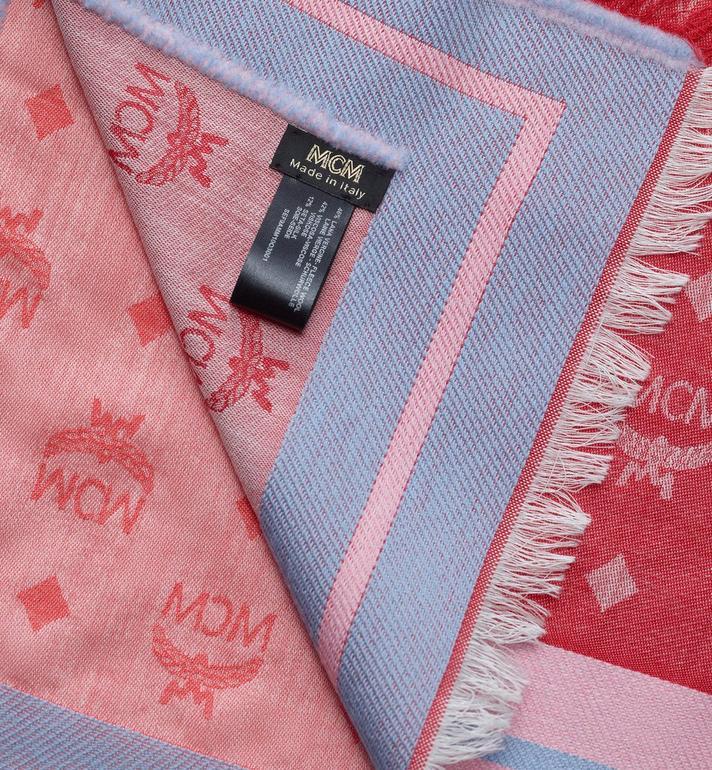 MCM Étole jacquard monogramme à bordure contrastée Pink MEF9AMM10O3001 Alternate View 2