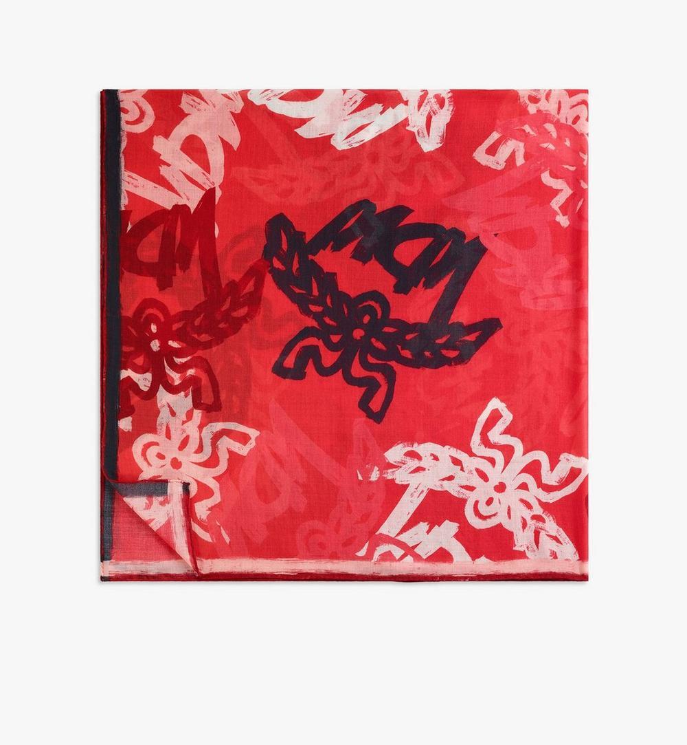 抽象花押字圖案羊毛圍巾 1