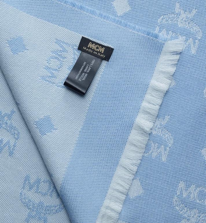 MCM Logo Print Wool Stole Blue MEFASMM07H2001 Alternate View 2