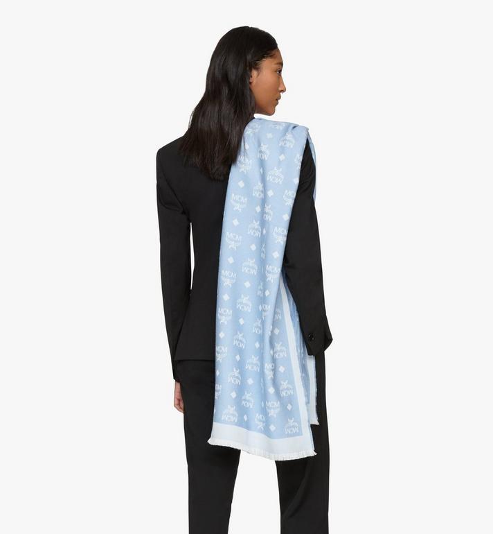 MCM Étole en laine à imprimé logo Blue MEFASMM07H2001 Alternate View 3