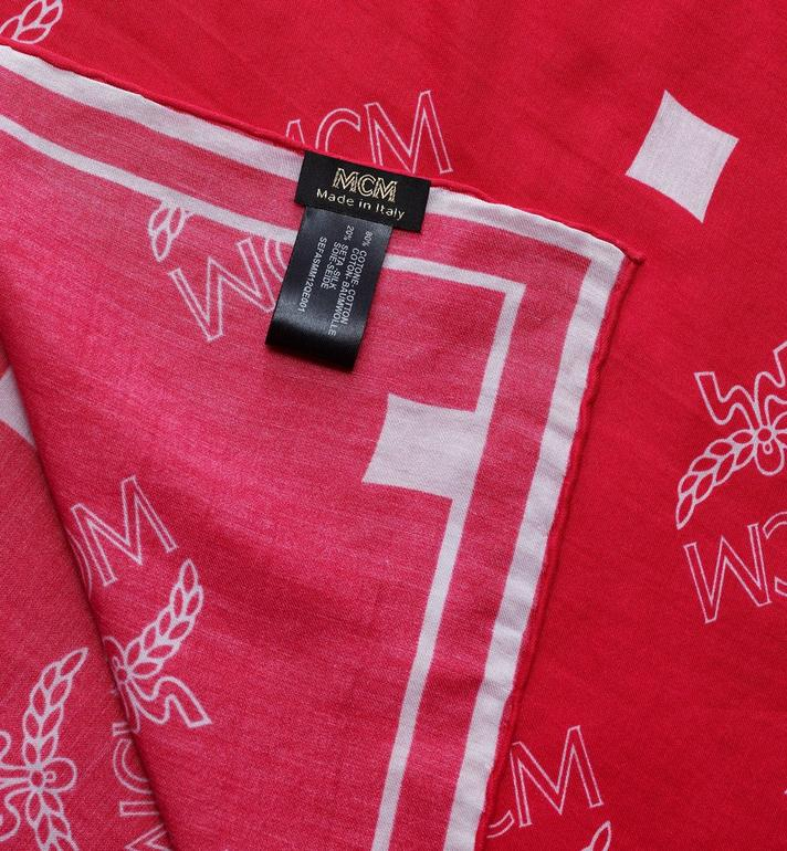 MCM Logo Print Bandana Scarf Pink MEFASMM12QE001 Alternate View 2
