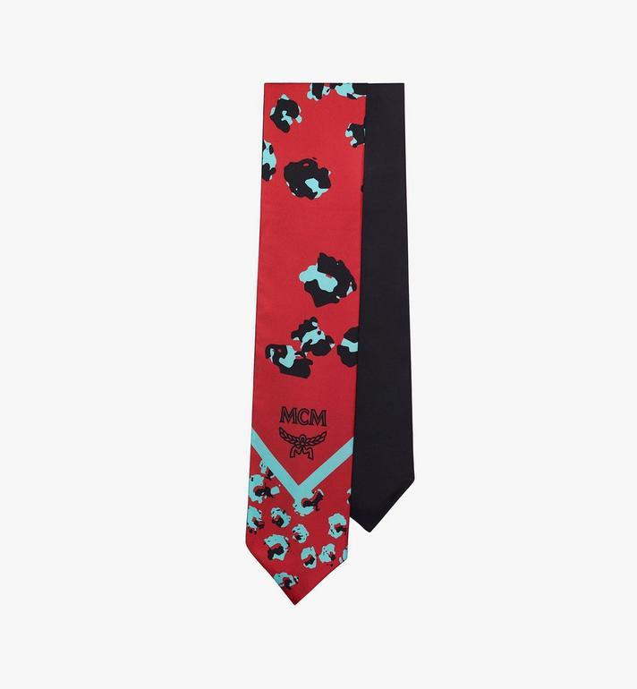 MCM Floral Leopard Silk Twilly Scarf Red MEFASSE05R4001 Alternate View 2
