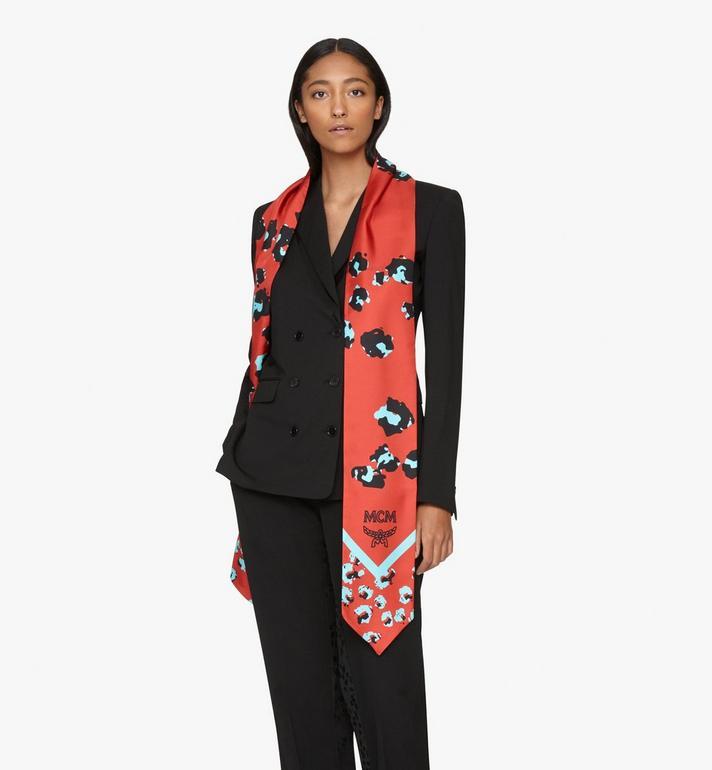 MCM Floral Leopard Silk Twilly Scarf Red MEFASSE05R4001 Alternate View 3
