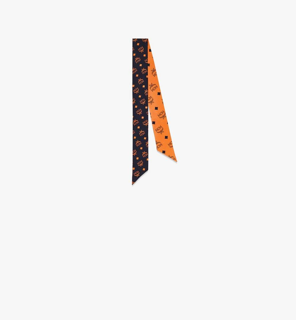 花押字圖案真絲斜紋圍巾 1