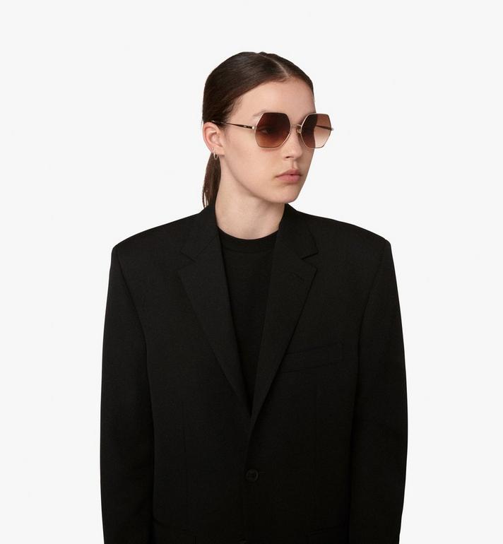 MCM Geometric Oversized Sunglasses Brown MEG9A2I06NR001 Alternate View 5