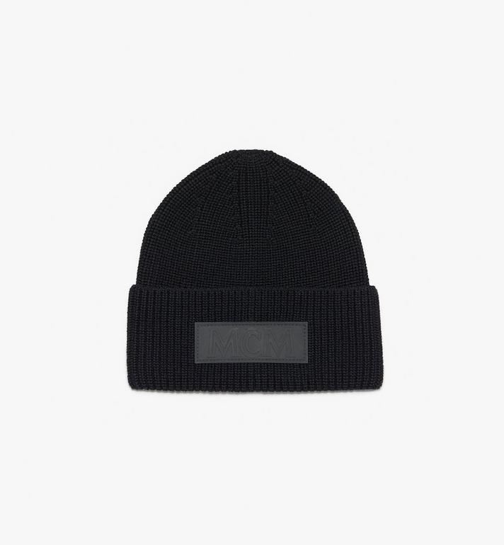 MCM Logo Patch Wool Beanie Black MEH9AMM01BK001 Alternate View 2