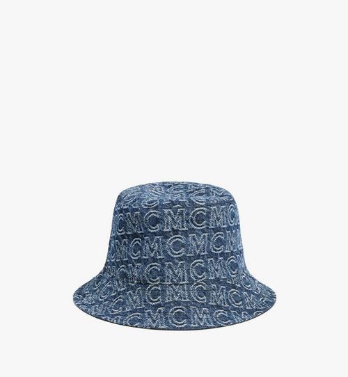 หมวกทรงบัคเก็ตผ้าเดนิมลายโมโนแกรม