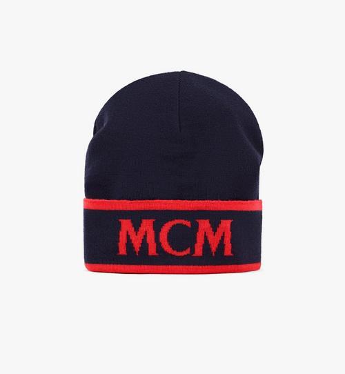對比色 Logo 羊毛毛線帽