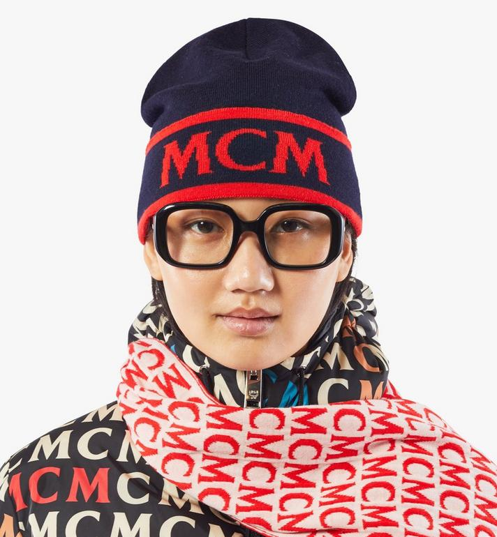 MCM Contrast Logo Wool Beanie Blue MEHAAMD02VU001 Alternate View 3