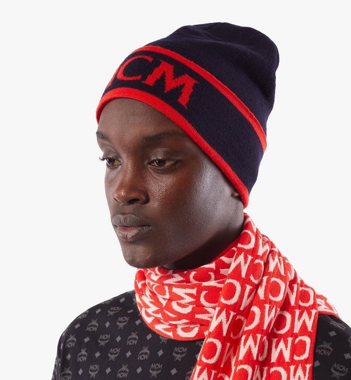 MCM Contrast Logo Wool Beanie Black MEHAAMD02VU001 Alternate View 6