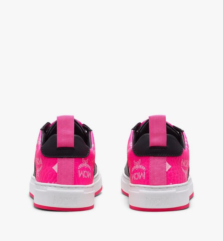 MCM Women's Flo Low-Top Sneakers in Neon Visetos Black MES9ALC67BK038 Alternate View 3