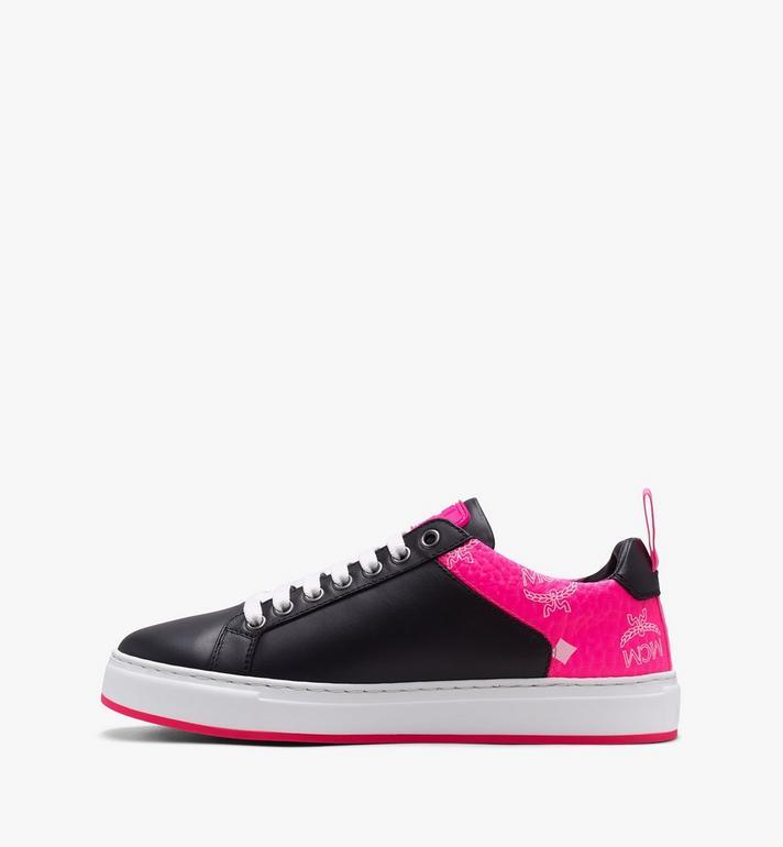 MCM Women's Flo Low-Top Sneakers in Neon Visetos Black MES9ALC67BK038 Alternate View 4