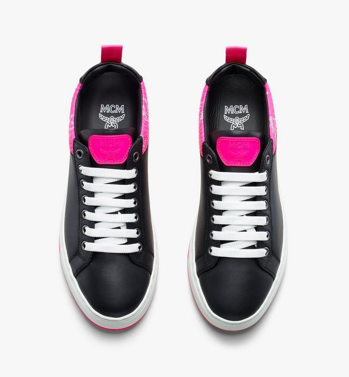 MCM Women's Flo Low-Top Sneakers in Neon Visetos Black MES9ALC67BK038 Alternate View 5
