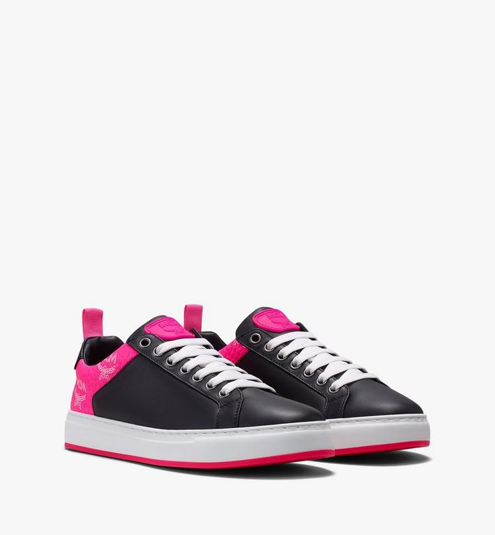 MCM Women's Flo Low-Top Sneakers in Neon Visetos Black MES9ALC67BK039 Alternate View 1