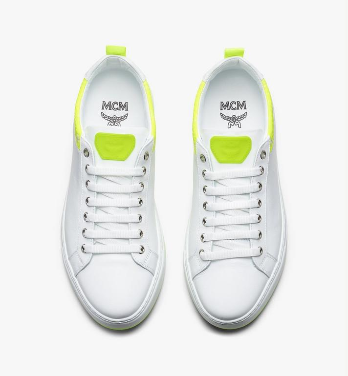 MCM Women's Flo Low-Top Sneakers in Neon Visetos White MES9ALC67WT038 Alternate View 5