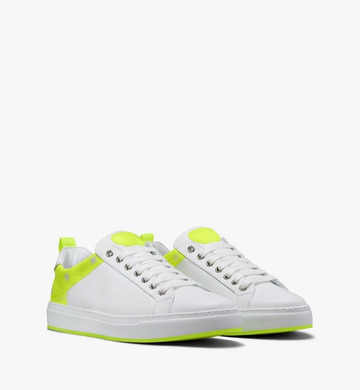 MCM Women's Flo Low-Top Sneakers in Neon Visetos White MES9ALC67WT040 Alternate View 1