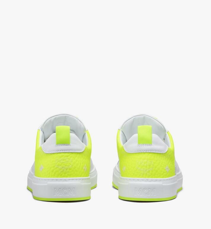 MCM Women's Flo Low-Top Sneakers in Neon Visetos White MES9ALC67WT040 Alternate View 3
