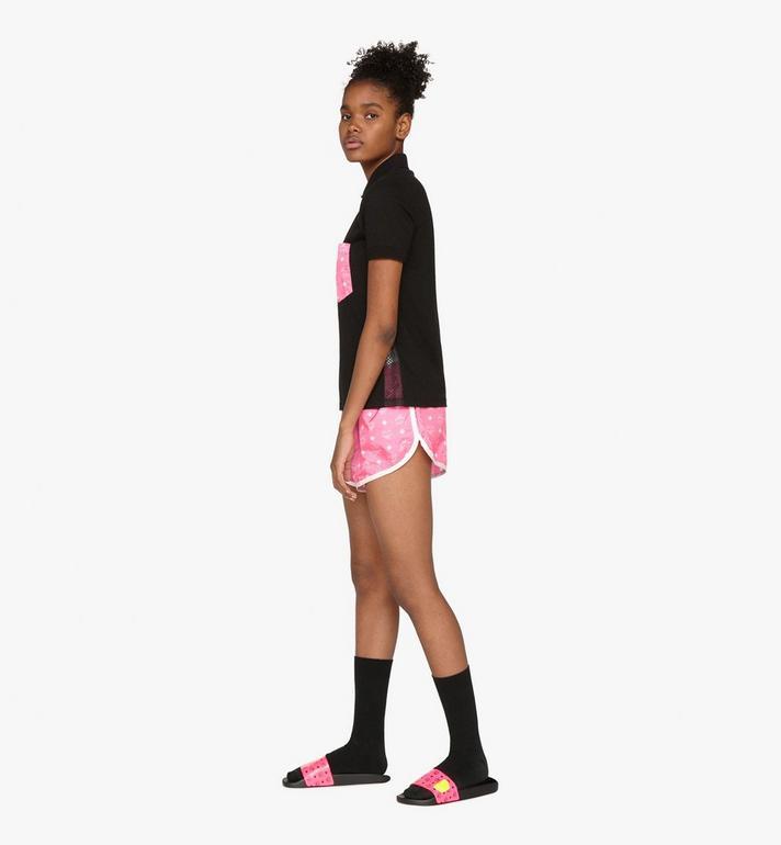 MCM Women's Flo Monogram Rubber Slides Pink MES9ALC76QP035 Alternate View 6
