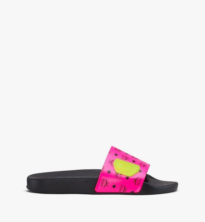 MCM Women's Flo Monogram Rubber Slides Pink MES9ALC76QP036 Alternate View 2