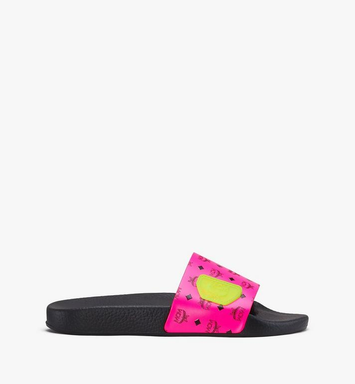 MCM Women's Flo Monogram Rubber Slides Pink MES9ALC76QP037 Alternate View 2